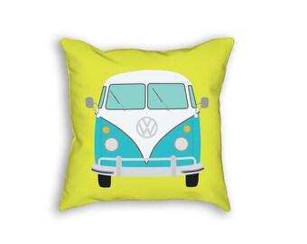 VW Bus, Car Throw Pillow, Classic Car Decor, Pink Throw Pillow