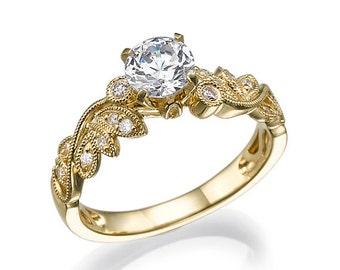Big Diamond Ring, Big Stone Ring, Yellow Gold Engagement Ring, Prong Setting Ring, Side Diamond Ring, Two Carart Ring