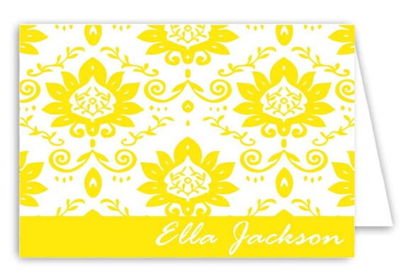 Personalized Vine Folded Note Cards - Set of 30 Monogram Notes