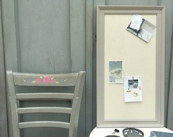Large grey memo board. Grey notice board. Grey bulletin board. Fabric pin board. Grey message board. Linen cork board. Linen pin board.