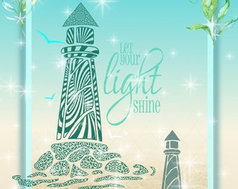 Lighthouse Mandala with Let Your Light Shine Quote SVG, Lighthouse Svg, Mandala SVG, Lighthouse Mandala, Lighthouse Zentangle Svg