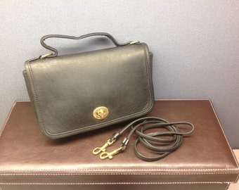 Vintage Coach Casino Bag // #9924 // Black Leather Mini Messenger Bag