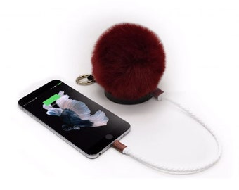 Burgendy Pom Pom USB Charger for Iphone and Android