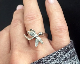 Dragonfly Ring, Dragonfly Jewelry,Ring, Lucky Charm, Unique gifts, Handmade Ring, Insect Jewelry, Gift for Her, Sterling Silver Ring,