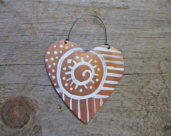 Heart Ornament, Copper Heart, Heart Decoration, Hostess Gift, Gift Tag, Kitchen, Love, Indoor/Outdoor, Sculpture, Christmas, Folk Decor,