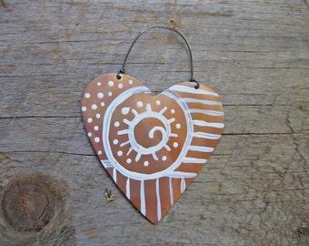 Coeur d'ornement, coeur en cuivre, décoration coeur, cadeau d'hôtesse, étiquette de cadeau, cuisine, amour, intérieure et extérieure, Sculpture, Noël, décor folklorique,