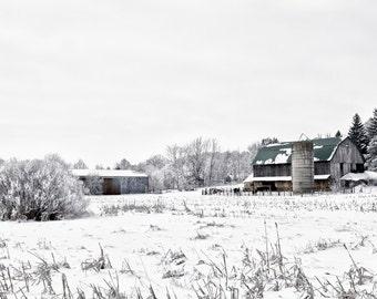 Barn Decor, Minimal, Snow Art, Farmhouse Decor, Midwest Art, Country Decor, Large Wall Art, The Snowy Barn