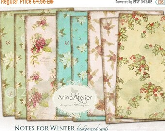 SALE - 40% OFF Notes for winter Background Papers Set - Digital Papers - Vintage Backgrounds - digital scrapbooking - set of 4 - Printable D