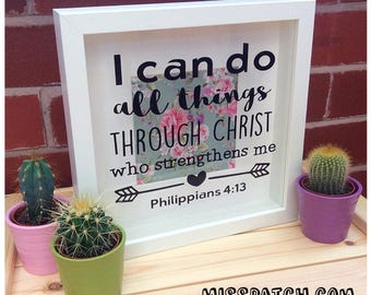 Philippians 4.13 Bible Verse Scripture Shadow Box Frame