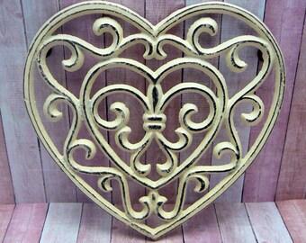 Heart Cast Iron Trivet Hot Plate Off White Cream Distressed Shabby Elegance Ornate Swirly Heart Shaped Fleur de lis Center French Decor