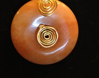 """Red Aventurine Donut Pendant, Gold-Plated 18"""" Rope Chain"""