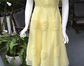 Vintage Yellow Crinoline 50's Party Dress