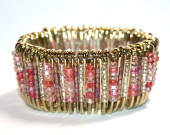 Blush - Safety Pin Bracelet, Gold
