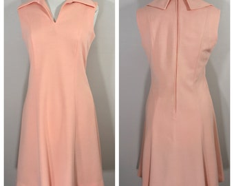 David Warren Sleeveless Vintage Dress // Peach, Coral, Pink Vintage Dress, Size Large