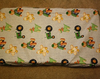 teddy bear tractors changing pad cover