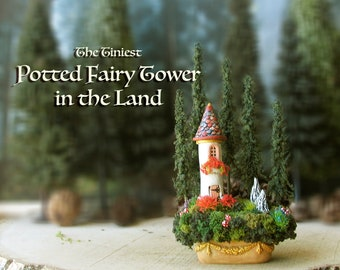 The Tiniest Potted Fairy Tower -Miniature Round Fairy Tower with Conical Tiled Roof, Flower Box & Pine Trees in a Landscaped Decorative Pot