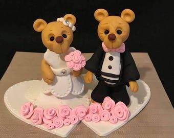 Polymer Clay Bear Wedding Cake Topper