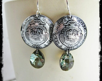 Domed Costa Rican Coins and Swarovski Crystal Earrings