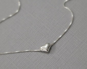Tiny Sterling Silver Heart Necklace, Heart Necklace, Tiny Heart Necklace, Layering Necklace, Minimalist Necklace, Gift for Her