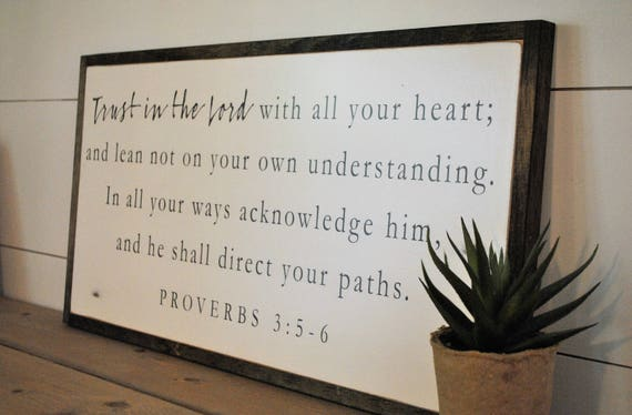 ALL YOUR HEART 1'X2'   Trust in the Lord   scripture biblical wall decor   distressed painted framed wooden sign   farmhouse shabby chic