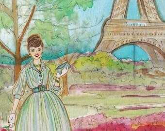 Vintage Paris - Watercolour Painting Print