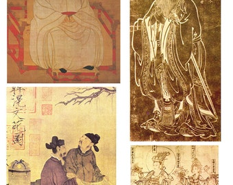 Instant Download Digital Ancient Chinese Art History Images Collage Sheet for Paper Arts, Collage, Scrapbooking and MORE PSS 2424