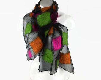 Nuno felted scarf, lightweight scarf, bright neon scarf, silk chiffon scarf with merino wool, fashion scarf, womens wear