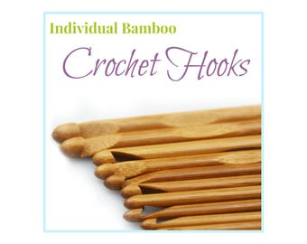Crochet Needles, Individual Crochet Hooks, Carbonized Bamboo Crochet Hooks 12 Sizes to choose from or Whole Set, Children Crochet Tools,
