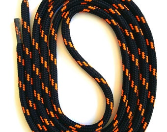 SNORS - lace - security LACES black/neon Orange, 4 lengths, approx. 5 mm - round laces for work shoes, hiking boots, trekking shoes