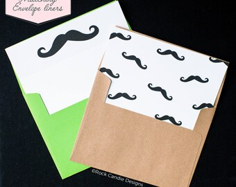 Printed Matching Envelope Liner | A2 Sized Liner | I Mustache You A Question Card | Card for Groomsman | How To Ask Your Best Man Wedding