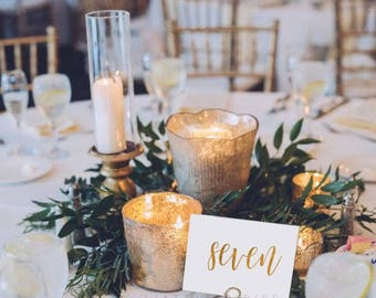 Wedding Table Numbers - Gold Foil Table Numbers - Gold Table Cards - Elegant Decor - Wedding Stationery - Table Name