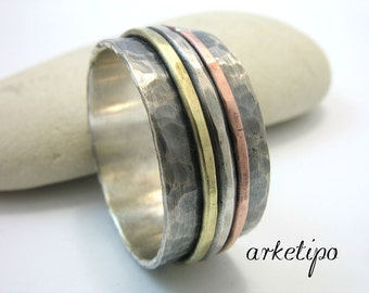 Oxidized Sterling silver Ring- Hammered- Men's ring- Band for Men - Rustic- Handmade- Personalized inside- Part of Copper and Brass