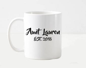 Aunt Pregnancy Announcement Gift Aunt Reveal Personalized Coffee Mug Cup Gift ANY YEAR