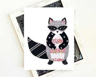 Nursery Animal Art Print, Woodland Raccoon Art, Woodland Animals Art Print, Raccoon Nursery Art Print, PRINTABLE ART, 8x10 Digital Download