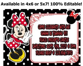 Minnie Mouse Kid's Birthday Invitation Editable Digital Download