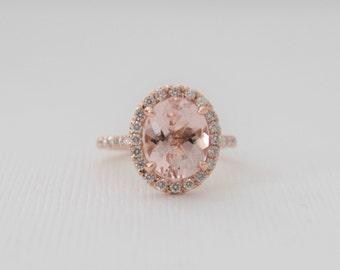 Oval Morganite Diamond Halo Ring in 14K Rose Gold
