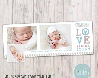 Newborn Facebook Timeline - Photoshop Template - HB001 - INSTANT DOWNLOAD
