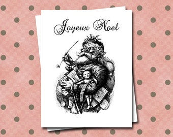 Antique Santa Note Cards Joyeux Noel French Script Christmas Stationery Set Greeting Card Black and White Illustrated