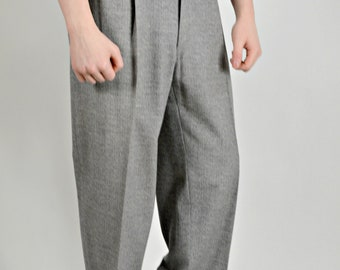 Mens Grey Pants, 1950s Mens Pants, Rockabilly Mens Pants,50s Pants Men, Baggy Pants Men, Mens Pleated Pants, Mens Pleated Trousers, Waist 30