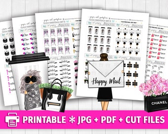 GLAM ESSENTIALS SET 1 Functional Deco Printable Planner Stickers/for use with Erin Condren/Weekly Kit Cutfiles Fashion Coffee Happy Mail