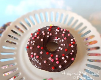 Fake Donut Doughnut Valentine's Day Chocolate Frosting Ball Sprinkles DECOR Fake Cake Kitchen Decor Display