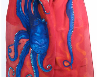 """Octopus Silk Scarf. 14x69"""". Octopus Scarf. Hand painted silk scarf. Painted silk scarf. Handpainted silk scarf~Gift for diver~Red silk scarf"""