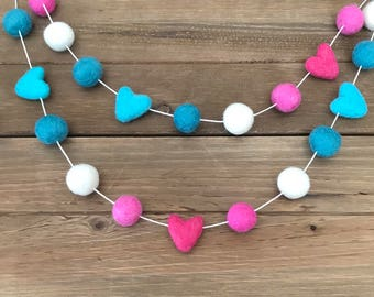 Valentine's Day #6 Felt Ball Garland- Pink, Aqua, Heart, White - Party, Holiday, Mantle Decor- Pom Pom