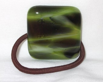Ponytail Holder, Green, Black and White Streaked Fused Glass, Handmade Hair Accessories, Women's Accessories, Square, Flat Glass Hair Tie