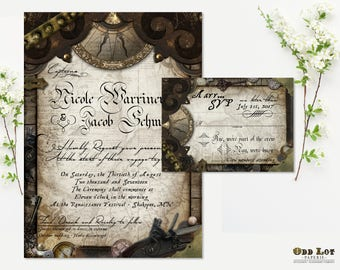Nautical Wedding Invitation Pirate Wedding Invitation Offbeat Wedding Invitation DIY Printable Nautical Pirate Wedding Invitation Suite