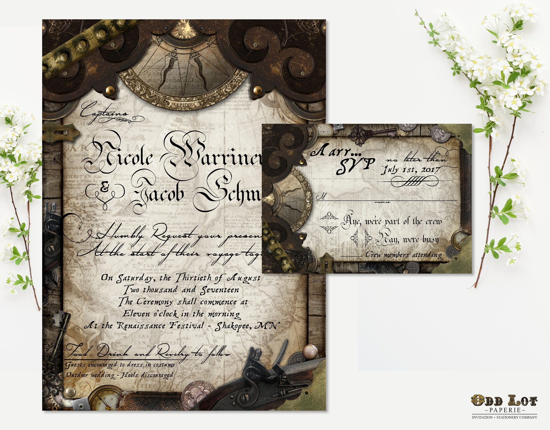 Nautical Wedding Invitation Pirate Wedding Invitation Offbeat