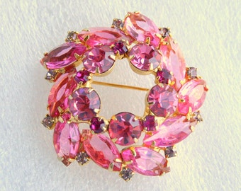 Vintage 1950s Pink Rhinestone Brooch Vintage Layered Domed Open Back Pin