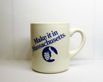 Make it in Massachusetts Mug Thumbs Up Vintage 80s State Business Logo Advertising Slogan Ceramic Coffe Cup Boston Governor Ed King Campaign