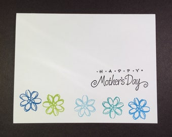 Blue flower card to tell mom Happy Mothers Day