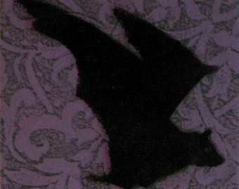 Gothic/Kitsch Bats Flying! Original relief & stencil print, in acrylic and lacquer on stretched canvas. Flying ducks goth wall art